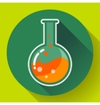 Round chemical lab flask with liquid icon Flat vector image