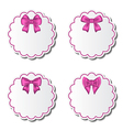 Set of beautiful cards with pink gift bows vector image