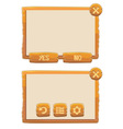 Window of game with buttons vector image