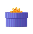 Blue Gift Box with Yellow Ribbon vector image