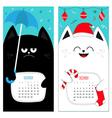 Cat calendar 2017 Cute funny cartoon character set vector image