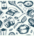 kitchen ware - hand drawn seamless pattern vector image