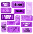 Violet set of ticket admit one EPS 8 vector image