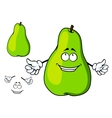 Happy green cartoon pear giving a thumbs up vector image