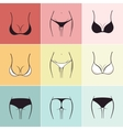 Set of sketch bra and panties logos vector image vector image