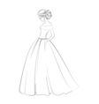 Bride model contour outline of pretty young woman vector image