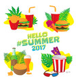 hello summer fast food stickers with leafs vector image