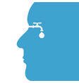 human head with water drop and water tap icon vector image