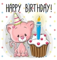 Kitten with cake vector image