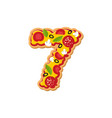 number 7 pizza font italian meal alphabet numeral vector image