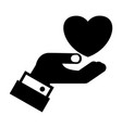 wedding heart in hand black silhouette icon vector image