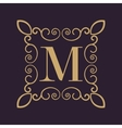 Monogram letter M Calligraphic ornament Gold vector image