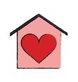 cartoon house love heart beauitful card vector image