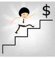 business concept Man stepping up a staircase to su vector image