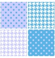 Blue white and violet houndstooth background set vector image vector image