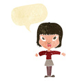 cartoon woman with outstretched arms with speech vector image