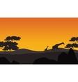 Giraffe silhouette in park scenery vector image