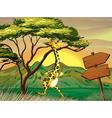 A giraffe following the wooden arrow guide vector image