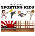 Boys and girls doing martial arts vector image