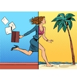 Business woman dreaming about vacation at sea vector image