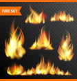 Fire glowing flames icons set vector image