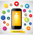 infographics elements with smartphone vector image