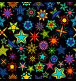 kaleidoscope stars black background vector image