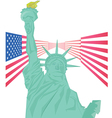 Statue of Liberty and USA flag vector image
