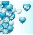 Background with flying balloons in the shape of a vector image