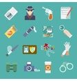 Detective icons set vector image