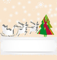 Christmas card with reindeer and tree vector image vector image