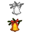 Christmas bell isolated sketch icon vector image