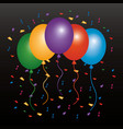 colored balloons flying confetti and dark vector image