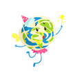 cute cartoon earth planet wearing party hat and vector image