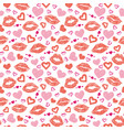 Female lips hearts seamless pattern vector image