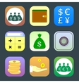 Flat icons monetary topics for web and mobile vector image