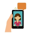 hand hold cellphone girl talking chat vector image