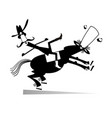 man falls down from the horse vector image