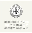 Set for creating letters monogram wreath vector image