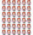 set of redhead young boy emojis vector image