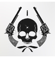 Wild west skull and pistols emblem vector image