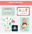 Cute Christmas Cards and Stickers vector image