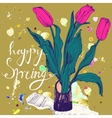 Decorative card with hand drawn tulips and text vector image