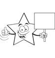 Cartoon star holding a sign vector image