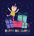 Happy holidays bright colorful card vector image