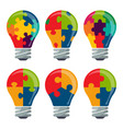 set of colorful bulb icons with puzzle concepts vector image