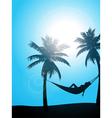 Summer sunbather silhouette vector image