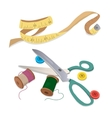 Sewing tools thread and buttons vector image