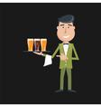 waiter beer vector image