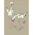two stylized drawn herons vector image vector image